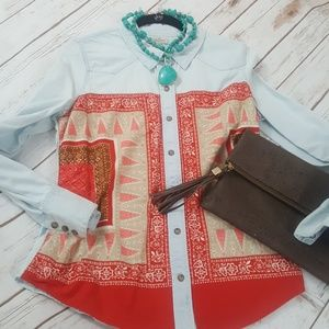 ❤Lucky Brand Western Chambray Blouse